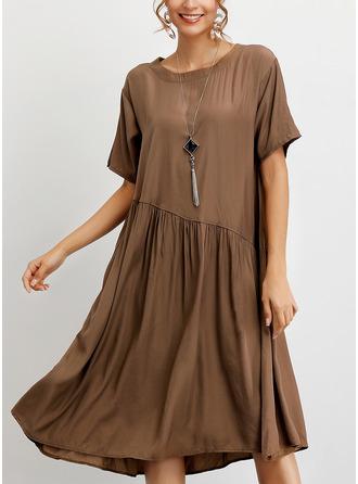 Solid Shift Short Sleeves Midi Casual T-shirt Dresses