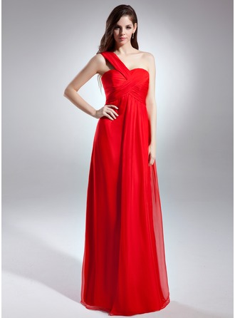 Empire One-Shoulder Floor-Length Chiffon Evening Dress With Ruffle
