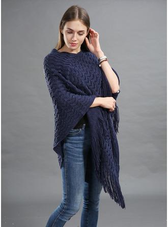 Color sólido/Borla de gran tamaño/Clima frío La lana artificial Poncho
