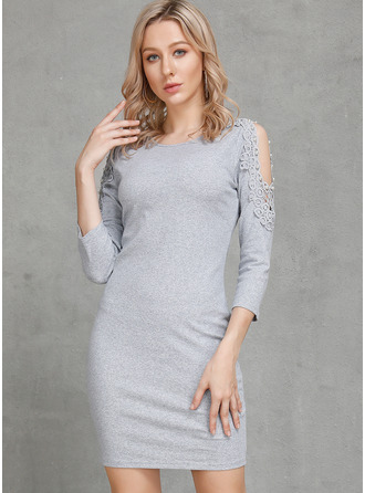 Above Knee Round Neck Cotton Beaded/Stitching 3/4 Sleeves Fashion Dresses