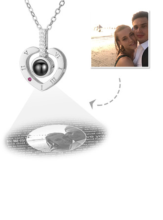 Personnalisé Argent Sterling Collier Je T'aime En Projection En 100 Langues Cœur Collier Photo avec Zircon cubique - Cadeaux Pour La Fête Des Mères