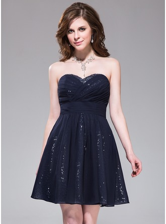 A-Line/Princess Sweetheart Short/Mini Chiffon Sequined Homecoming Dress With Ruffle Beading