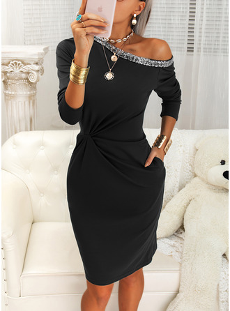 Sequins Solid Bodycon Long Sleeves Midi Little Black Elegant Pencil Dresses