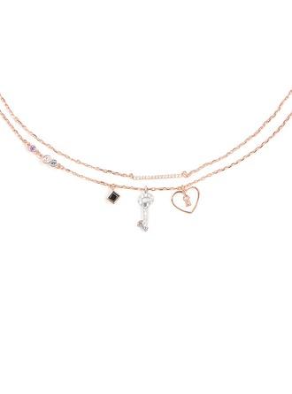 Silber Zirkonia Herz Schlüssel Charm Halskette Für Frauen Für die Freundin