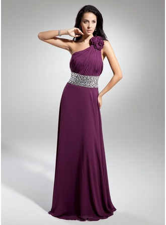 A-Line/Princess One-Shoulder Floor-Length Chiffon Evening Dress With Ruffle Beading Flower(s)