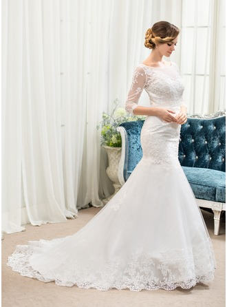 Trumpet/Mermaid Illusion Court Train Tulle Lace Wedding Dress With Beading