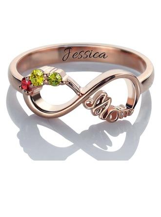 Personalizado Señoras' Elegante con Redondo Cubic zirconia Anillos de nombre Collares Ella/Niña de las flores