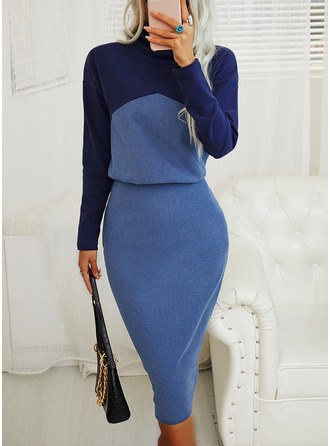 Color Block Bodycon Long Sleeves Midi Elegant Pencil Dresses