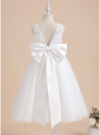 A-Line Tea-length With Beading/Flower(s) Lace Sleeveless Flower Girl Dress