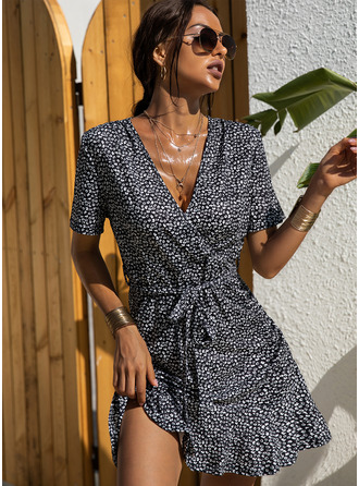 Print Sheath Short Sleeves Mini Casual Elegant Wrap Dresses