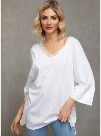 Lace твердый 3/4 Sleeves Polyester V Neck Блузы