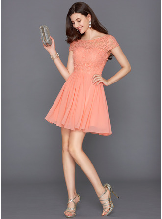 A-Line/Princess Scoop Neck Short/Mini Chiffon Cocktail Dress