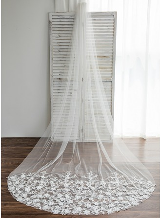 One-tier Waltz Bridal Veils With Applique