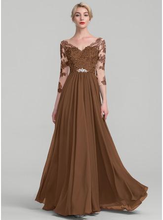 A-Linie/Princess-Linie V-Ausschnitt Bodenlang Chiffon Spitze Kleid für die Brautmutter