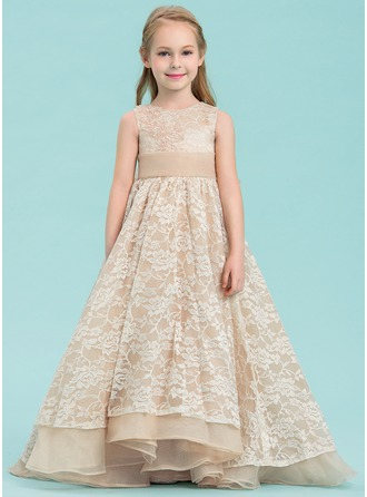 A-Line/Princess Asymmetrical Flower Girl Dress - Organza/Lace Sleeveless Scoop Neck With Beading/Bow(s)