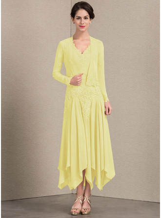 A-Linie/Princess-Linie V-Ausschnitt Knöchellang Chiffon Kleid für die Brautmutter mit Applikationen Spitze Pailletten