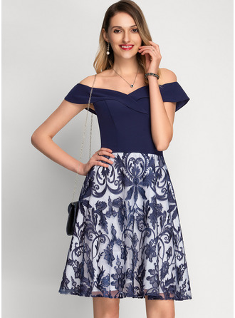 A-Line Off-the-Shoulder Knee-Length Stretch Crepe Cocktail Dress