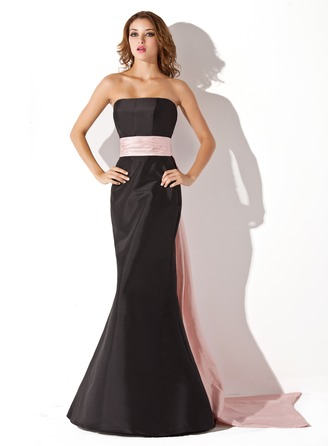 Trumpet/Mermaid Strapless Floor-Length Taffeta Prom Dresses With Sash