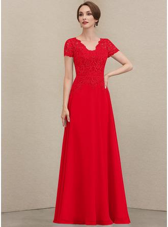 A-Linie V-Ausschnitt Bodenlang Chiffon Spitze Kleid für die Brautmutter mit Pailletten