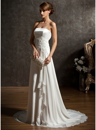 A-Line/Princess Sweetheart Sweep Train Chiffon Wedding Dress With Beading Appliques Lace Sequins Cascading Ruffles