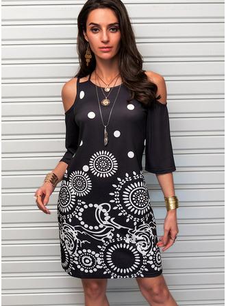 Print Sheath Cold Shoulder Sleeve Mini Casual Dresses