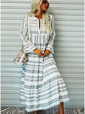 Print Shift Flare Sleeve Long Sleeves Maxi Casual Vacation Dresses