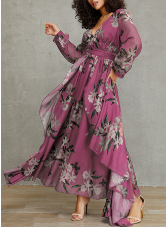 Floral Print A-line Long Sleeves Maxi Elegant Skater Dresses