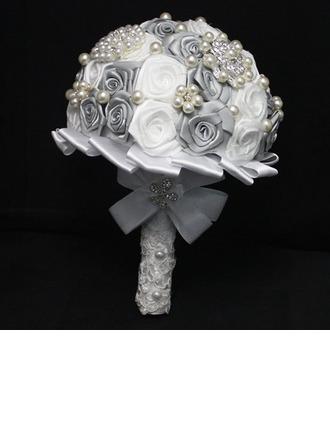 Hermosa mariposa Redondo Satén/Crystal Ramos de novia (vendido en una sola pieza) - Ramos de novia