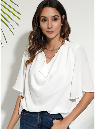 Solid 1/2 Sleeves Polyester V Neck Blouses