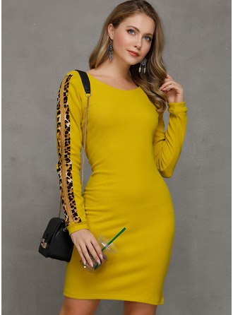Leopard Bodycon Long Sleeves Mini Casual Dresses