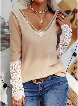 Lace Sequins V-Neck Long Sleeves Casual Blouses
