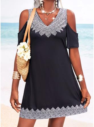 Print Sheath 1/2 Sleeves Mini Casual Vacation Dresses