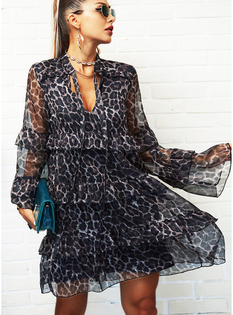 Leopard Shift Flare Sleeve Long Sleeves Mini Elegant Dresses