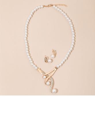 Elegante Liga/Strass/Falso pérola com Strass Senhoras Conjuntos de jóias