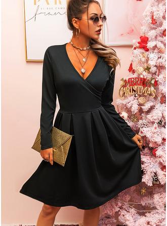 Little Black V-Neck Long Sleeves Midi Dresses
