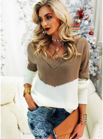 V-Neck Casual Color Block Sweaters (1002255203)