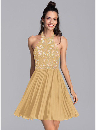 A-Line Halter Short/Mini Chiffon Homecoming Dress With Beading Sequins Pleated