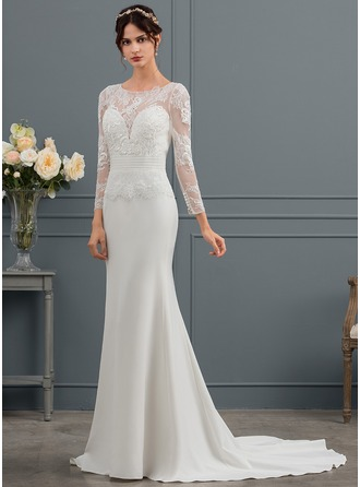 Sheath/Column Scoop Neck Court Train Satin Wedding Dress With Ruffle