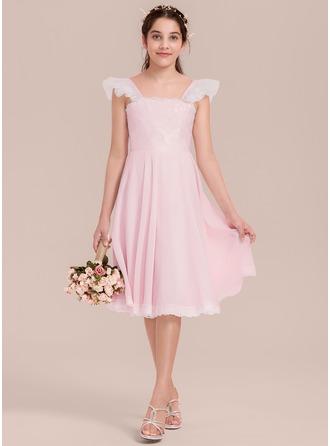A-Linie/Princess-Linie Rechteckiger Ausschnitt Knielang Chiffon Kleid für junge Brautjungfern mit Rüschen