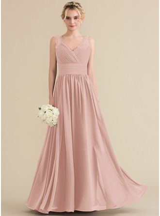 A-Line/Princess V-neck Floor-Length Chiffon Lace Bridesmaid Dress With Ruffle Bow(s)