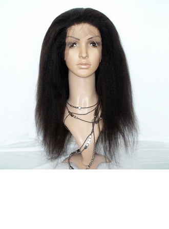 4A Non remy Kinky Straight Human Hair Lace Front Wigs