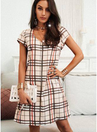 Kostkovaný Šaty Shift Krátké rukávy Mini Neformální Tunika Módní šaty