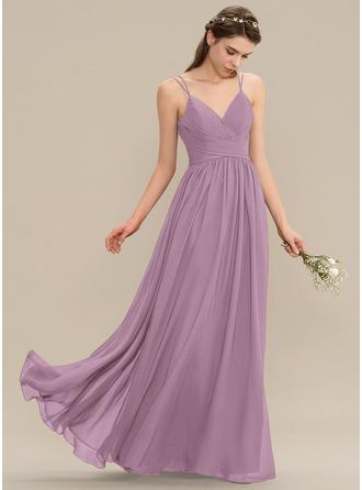 A-Line V-neck Floor-Length Chiffon Lace Bridesmaid Dress With Ruffle