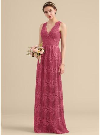 A-Line/Princess V-neck Floor-Length Lace Bridesmaid Dress