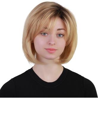 Kinky Straight Human Hair Blend Human Hair Wigs 120g