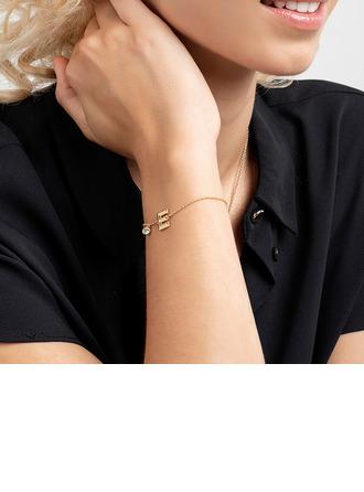 Individualisiert Damen Kupfer/Zirkonia mit Runde Zirkonia Anfängliche Armbänder Armbänder Für Sie