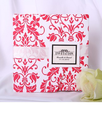 Personlig klassisk stil Wrap & Pocket Invitation Cards med Färgband (Sats om 50)