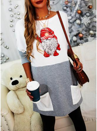 Color Block Print Round Neck Long Sleeves Christmas Sweatshirt