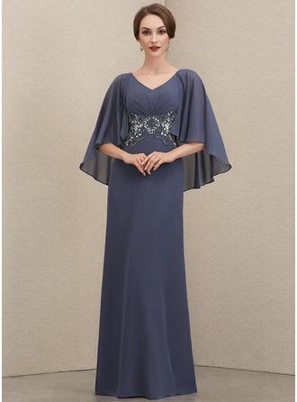 Corte A Decote V Longos Tecido de seda Vestido de festa com Pregueado Beading lantejoulas