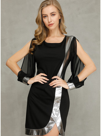 Above Knee Round Neck Polyester Color-block Long Sleeves/Split Sleeve Fashion Dresses
